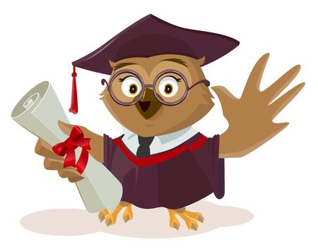 Owl afgestudeerde bedrijf diploma. Geïsoleerd op wit vector cartoon illustratie Stockfoto - 62414244
