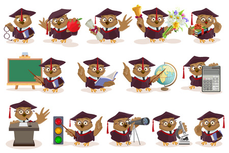 Big set owl teacher. Isolated on white vector illustration Stock Illustratie