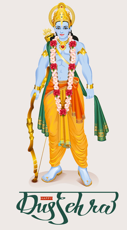 rama: Happy dussehra hindu festival. Lord Rama holding bow and arrow.