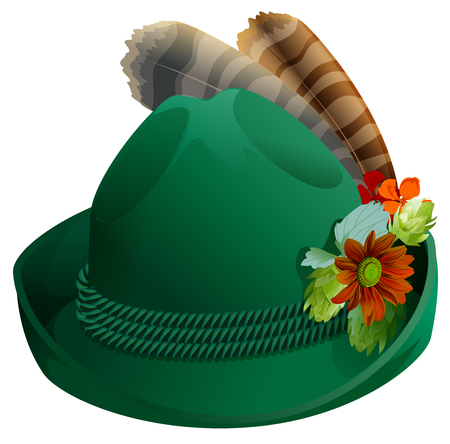 tirol: Green hat with feathers for Oktoberfest.