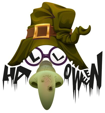 visard: Witchs hat, green nose and glasses accessory for Halloween party. Isolated on white vector illustration