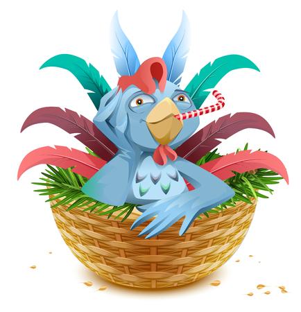 Blue Christmas Hahn Symbol von 2017 sitzt im Korb Nest auf Fichte Zweig. Isoliert auf weißem Vektor-Cartoon-Illustration Standard-Bild - 66588974