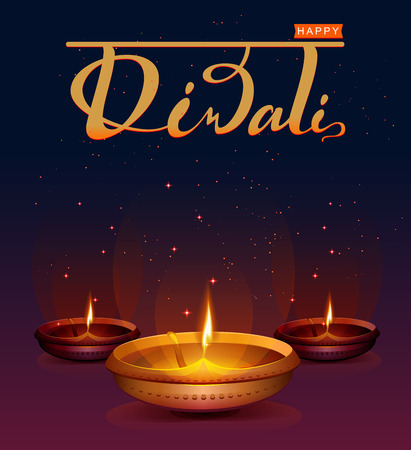 Happy Diwali festival of lights. Retro oil lamp on background night sky with stars. Illustration in vector format