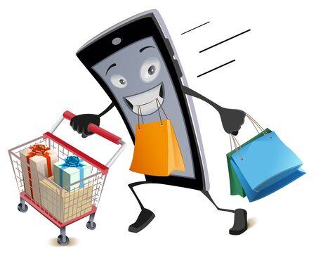 Black Friday virtual shopping. Joyful smartphone runs with shopping basket and bags. Isolated on white vector cartoon illustration