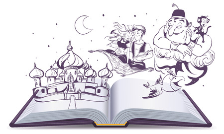 alladin: Open book story tale Magic lamp Aladdin. Arab tales Alladin, genie and Princess. Isolated on white vector cartoon illustration