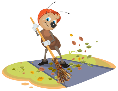 Janitor ant sweeps broom fallen leaves from footpath. Isolated on white vector cartoon illustration Stock Vector - 67296887