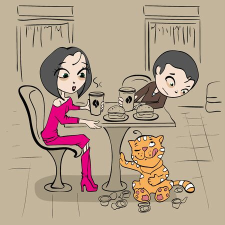 loving: Loving couple in cafe at table and funny cat. Vector cartoon illustration Illustration
