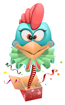 Blue head Rooster clown jumps out of box. Isolated on white cartoon illustration