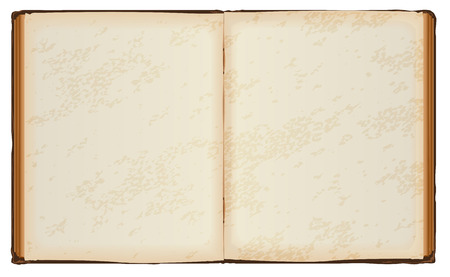 Open book with old blank pages. Isolated on white vector illustration Vettoriali