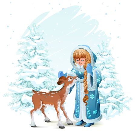 Snow Maiden in blue fur coat and fawn among pine trees in winter forest. Illustration in  format Illustration