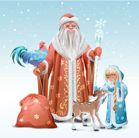 Russian Father Frost, Snow Maiden, blue rooster symbol 2017 and fawn. Vector template illustration for greeting card