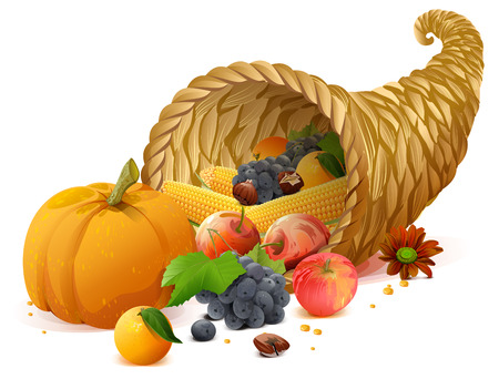 Cornucopia rich harvest on day of Thanksgiving. Isolated on white vector illustration