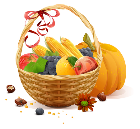 rich in vitamins: Fruits and vegetables in wicker basket. Rich harvest for Thanksgiving day. Isolated on white vector illustration