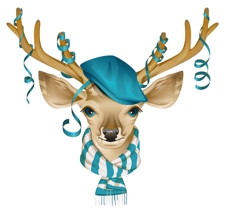head scarf: Christmas deer head in blue fashionable hat and striped scarf. Isolated on white  illustration
