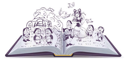 on white: Open book illustration. Fairy tale Snow White and 7 Dwarfs. Isolated on white  cartoon Illustration