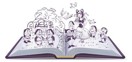 female leprechaun: Open book illustration. Fairy tale Snow White and 7 Dwarfs. Isolated on white  cartoon Illustration