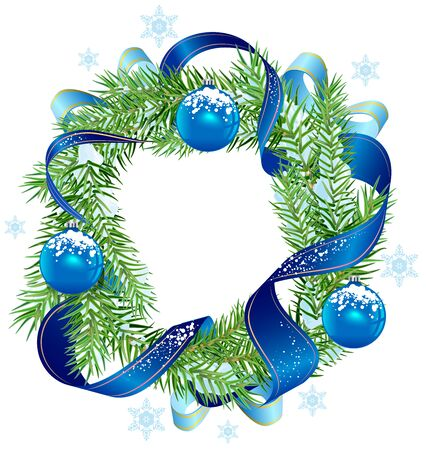 Christmas wreath decorated ribbon and blue balls. Isolated on white 向量圖像