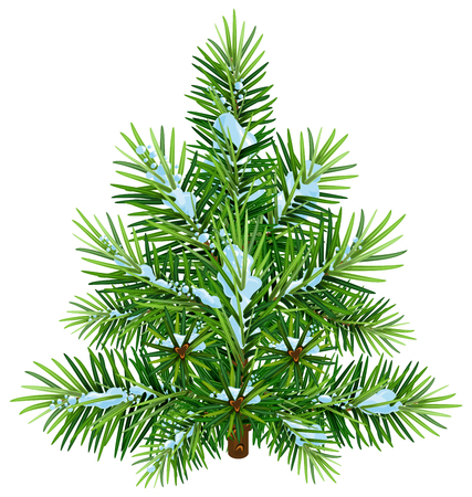 Green fluffy Christmas pine tree in snow. Isolated on white vector illustration Vektorové ilustrace