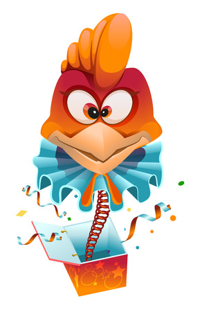 Red head Rooster clown jumps out of box. Isolated on white vector cartoon illustration