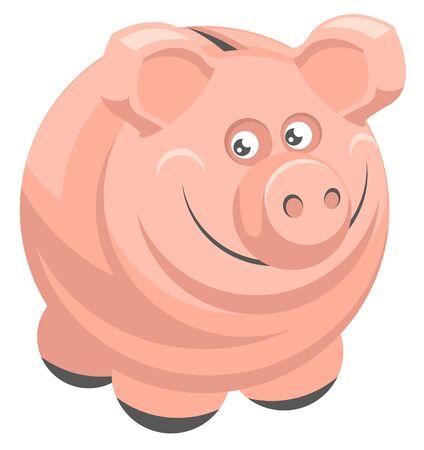 Money box Piggy bank. Isolated on white vector cartoon illustration