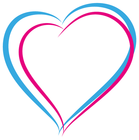 heterosexual couple: Blue and pink heart symbol of love. Heterosexual couple sign. Isolated on white vector illustration