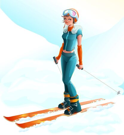 Winter sport. Beautiful young woman skier. Vector cartoon illustration