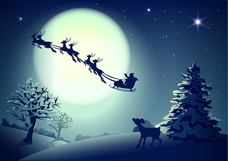 Santa Claus in sleigh and reindeer sled on background of full moon in night sky Christmas. Vector illustration for greeting card Stock Illustratie