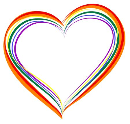 versicolor: LGBT rainbow heart symbol of love. Isolated on white vector illustration icon
