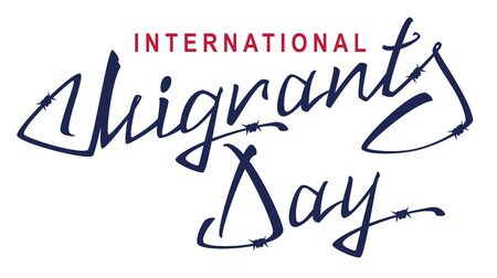 barbed wire isolated: International Migrants Day. Lettering text of barbed wire. Isolated on white vector illustration