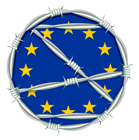 Yellow stars on blue background symbol of European Union behind barbed wire. Migration problem. Illustration in vector format Illustration