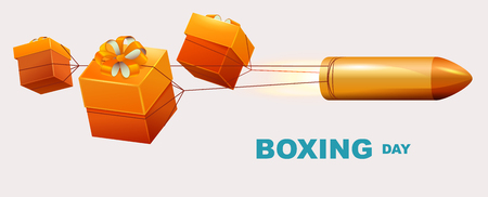 Boxing day text. Box gifts tied to bullet fly. Illustration in vector format Illustration