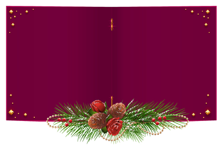 red  open: Red open Christmas card with fir branch garland, rose and pine cone. Isolated on white vector illustration