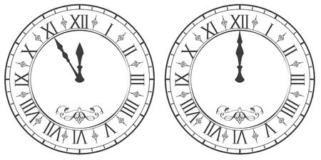 Klok met Romeinse cijfers. Nieuwjaar middernacht 12. Geïsoleerd op witte vectorillustratie