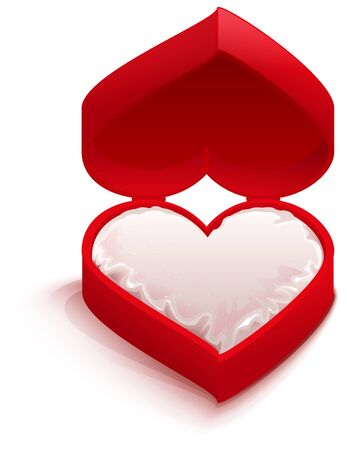 red  open: Red open box heart shape. Illustration in vector format Illustration