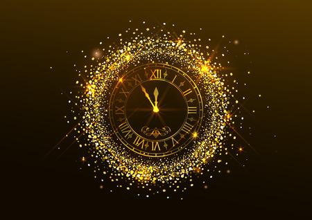 Midnight Nieuwjaar. Klok met Romeinse cijfers en gouden confetti op een donkere achtergrond. Illustratie in vector-formaat