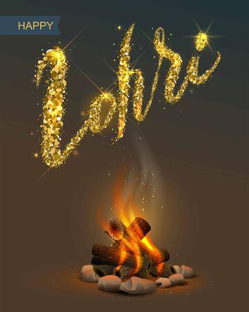 Happy Lohri Punjabi festival. Bonfire on dark background and lettering text. Illustration in vector format