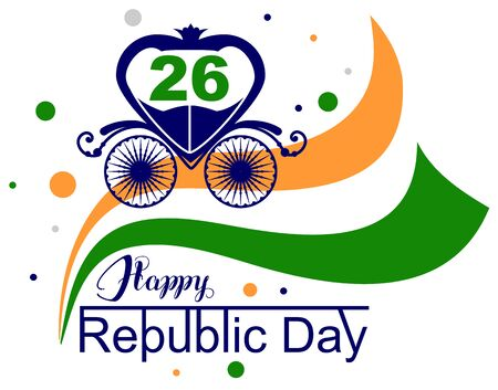January 26 Happy Republic Day India. Vector illustration with text lettering for greeting card Illustration