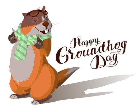 Happy Groundhog Day. Marmot casts shadow. Lettering text for greeting card. Vector cartoon illustration