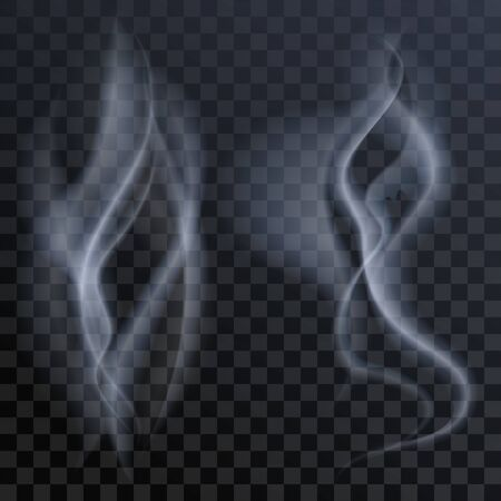steam jet: Set of white smoke on dark transparent background. Illustration in vector format
