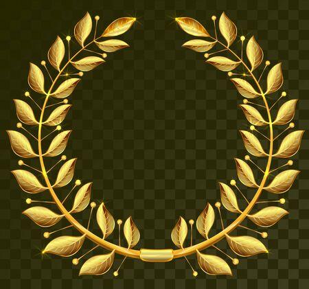 Golden laurel wreath on dark transparent background. Illustration in vector format Иллюстрация