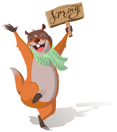 Joyful groundhog jumping and welcomes spring. Isolated on white vector cartoon illustration