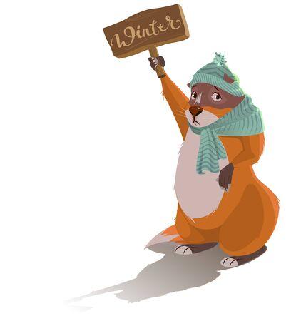 Groundhog Day. Sad marmot predicted winter. Vector cartoon illustration