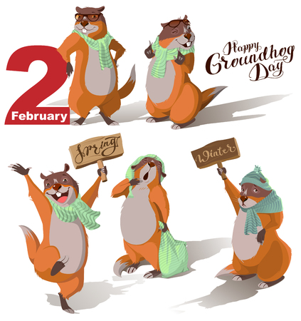 Happy Groundhog Day. Set Marmot casts shadow. Lettering text for greeting card. Vector cartoon illustration Stock Illustratie