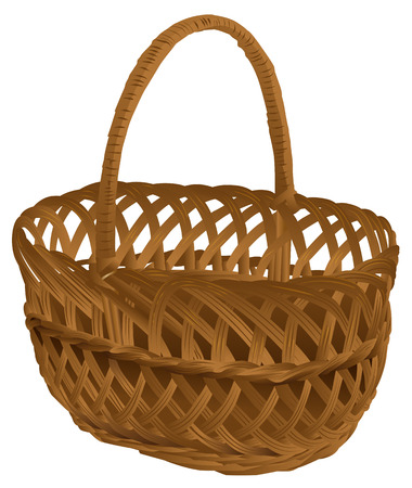 Empty wicker basket with handle. Isolated on white vector illustration
