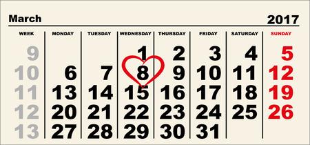 Calendar March 8. Heart shape reminder. International Womens Day. Illustration in vector format Stock Illustratie