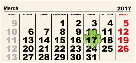 17th march: March 17 Patricks day calendar. Illustration in vector format