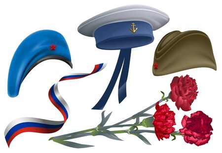 military beret: Defender of Fatherland Day. Set of accessories for greeting card field cap, peakless hat, beret, carnation flower bouquet, ribbon Russian flag. Isolated on white vector llustration Illustration