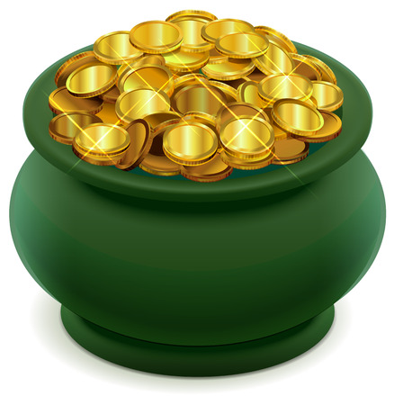Green pot full of gold coins. Isolated on white vector illustration