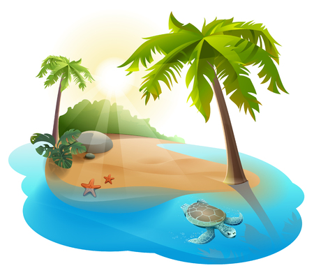 Tropical island with palm tree and turtle. Illustration in vector format