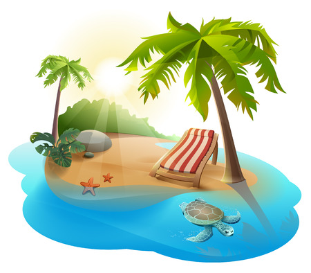 recliner: Summer rest. Chaise lounge under palm tree on tropical island. Illustration in vector format